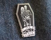 "FREE SHIPPING!!** ""Til Death"" Hard Enamel Lapel Pin.  1 5/8"" Silver & Black. Skeleton / Til Death do us Part / Marriage / Couple Goals"