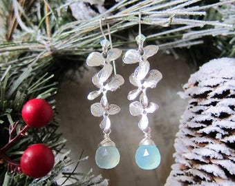 Luminous Bloom in Seafoam - Matte Silver Floral earrings with Soft Aqua Chalcedony