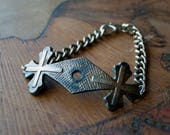 Victorian Casket Plate Gothic Bracelet - Antique Cross Thumbscrew Plate - Antique Funeral