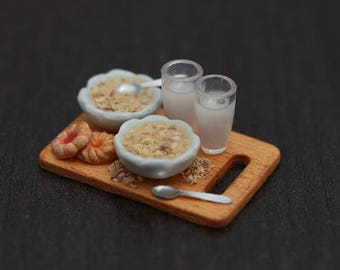 Granola for Two - Breakfast in Bed - 1:12 Scale Dollhouse Miniature Tray