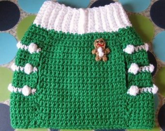 Dog Sweater Vest - Ginger Snap Christmas - Christmas Green - Size M - Ready to Ship Today