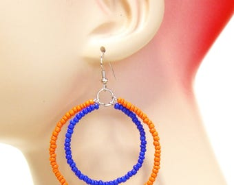 Dangle Earrings Beaded Florida School Colors Gators Ear Wires Orange and Blue