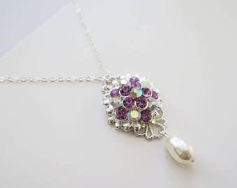 Bridesmaid Necklace Amethyst Purple Crystal Flower Swarovski Pear Drop Pearl Bridal Bridesmaid Jewelry Sterling Silver Chain