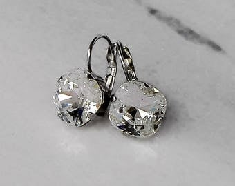 Swarovski crystal 12mm square fancy stone golf earrings clear crystal,antique silver pl.setting