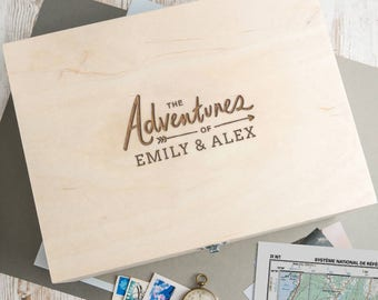 Wooden Keepsake Box Memory Box Personalized 'The Adventures Of' Valentines Day Gifts for Him and Her Couples - B15/B25/B35