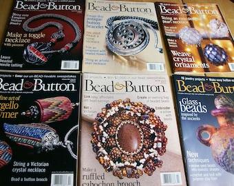 Bead & Button Magazine Issues #35 thru #40  Feb 2000 thru Dec 2000  6 Issues Bead Magazines