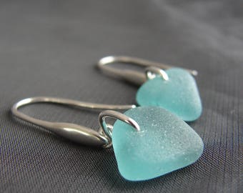 Teal Sea Glass Earrings / beach glass jewelry /  sterling silver seaglass earrings / minimalist jewelry / genuine sea glass earrings