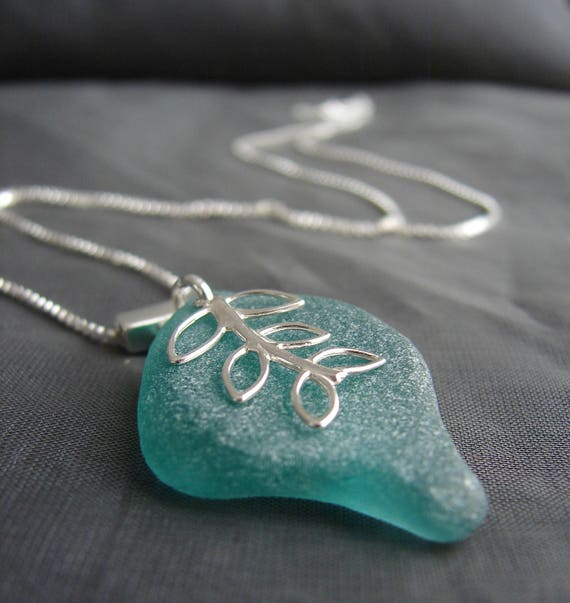 Sea Vine sea glass necklace in teal green