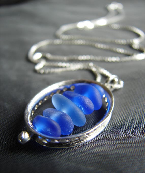 Drops in the Ocean sea glass necklace in cobalt and cornflower blue