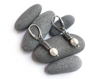 Sterling Silver Freshwater Pearl Hinged Lever Back Pierced Earrings Simple Elegant Dangle Hinged
