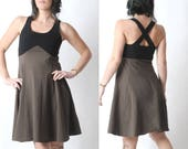Black and brown dress, Black and taupe jersey dress with crossed straps, Womens summer dress, Sleeveless black and brown dress, MALAM