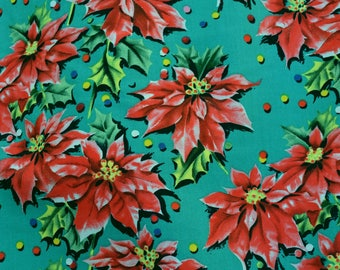 OOP CHRISTMAS fabric Holiday poinsettia fabric BTY JoAnn fabric Vintage retro inspired Christmas fabric