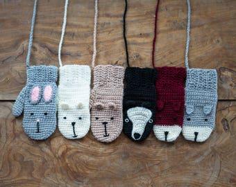 Animal Mittens With String Handmade Crochet