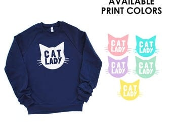 Cat Lady Cotton Navy Blue Sweatshirt - Family Photos, Meow, Expecting, Baby Shower, Matching, Mommy and Me, Crazy Cat Lady, Meow, Kitty Cat