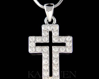 Swarovski Crystal Stylish Cut Out Cross Jesus Christ God Religious Charm Chain Necklace Jewelry Best Friend BFF Communion Baptism gifts New