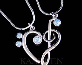 Blue Swarovski Crystal TREBLE G Bass CLEF Love Music Lover Musical Note Heart 2 Necklace Set Jewelry Best Friends BFF Mother Christmas Gift