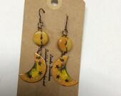 ABO Artisan Made Enamel and Copal Amber Moon Earrings
