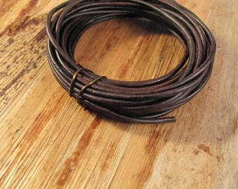 Ultra Soft Brown Leather, Natural Antique Brown Round Leather, 2mm, 5 Feet, Cord for Wrap Bracelets and Jewelry Making
