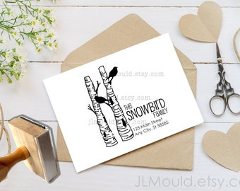 0223 JLMould Custom Personalized Winter Birds on a Birch Tree Nature Rubber Stamp with your Logo or Website Branding