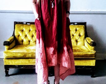 Linen loose fit dipped dyed dress in Wine  S, M, XL