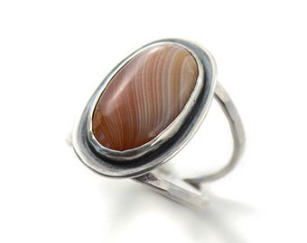 Handmade Lake Superior Agate Sterling Silver Double Band Ring Size 7