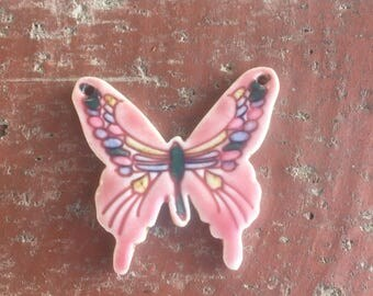 Pink Porcelain Butterfly Focal Pendant