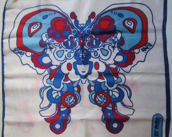Authentic 1960s  Peter Max Groovy Butterfly Pop Art Scarf