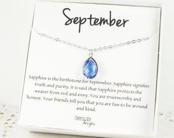 September Birthstone Silver Teardrop Necklace, Sapphire Silver Necklace, September Birthday Gift, Bridesmaid Jewelry, Gifts Under 20