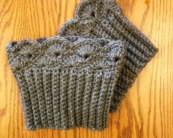 Dark Gray Boot Cuffs, Boot Toppers