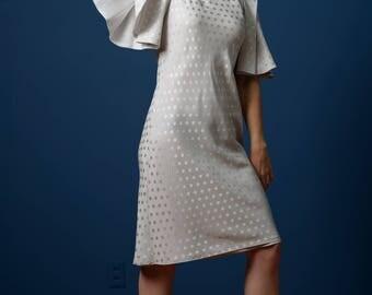 Vintage Light Gray Polka Dot Flutter Sleeve Dress (Size Small)