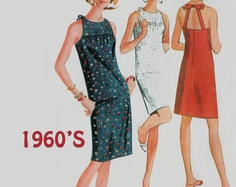 Vintage 1960 Misses BEST Halter Shift Dress Sewing Pattern McCalls 8330 60s Mod Madmen Pattern Size 14 Bust 34