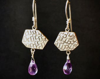 Stamped hexagon Silver Earrings with purple Amethyst drops