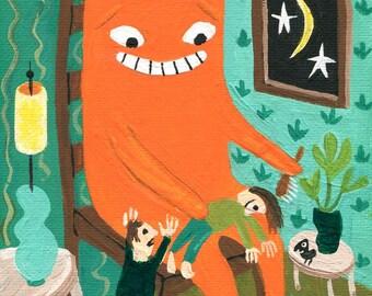 Orange Cat Art Print -Whimsical Ginger Tabby Cat Grooms Girl . Outsider Folk Artwork - Funny Teal Blue Green Groomer Wall Decor