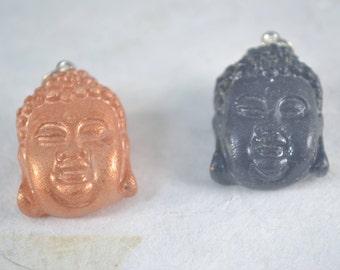 Resin BUDDHA Pendant - Gold Or Black Resin Buddha Head Pendant Charm
