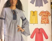 Uncut Sewing Pattern New Look 6432 Misses' Pull-Over Blouses size 8-20, Bust 30-42 inches UNCUT Complete