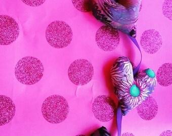 Valentine Heart Garland Bunting Pink Purple Batik Fabric Great Boho Hippie Gypsy Valentine's Day Decor