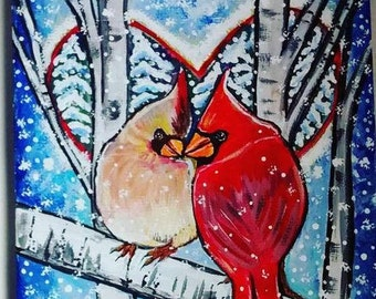 Cardinal Card Love Birds Art Card Valentine's Day Greeting Card By Tessimal Free Shipping in USA