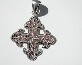 Sterling Silver Filigree Cross Pendant - St. Thomas Cross Pendant - 2607
