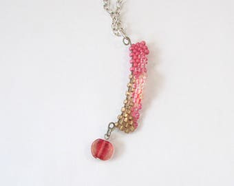 Pink Freeform Pendant - Pink Wave Beaded Necklace - Wavy Pendant - Gifts Under 20