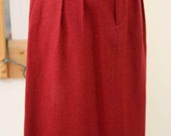 Burnt Sienna Fully LIned Front Pleated Skirt Size 6, Long Skirt, Circa 80's Skirt, Dark Orange Pencil Skirt, Wool Blend Skirt