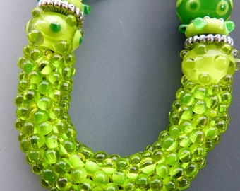 Lime Green Lampwork and Bead Crochet  Adjustable Necklace