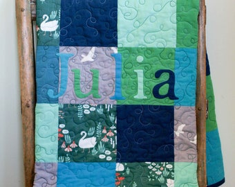 Modern Baby Quilt; Custom Organic Cotton Patchwork Quilt; Personalized Baby Quilt Gift; Modern Toddler Quilt in Blue, Green, Gray, Turquoise