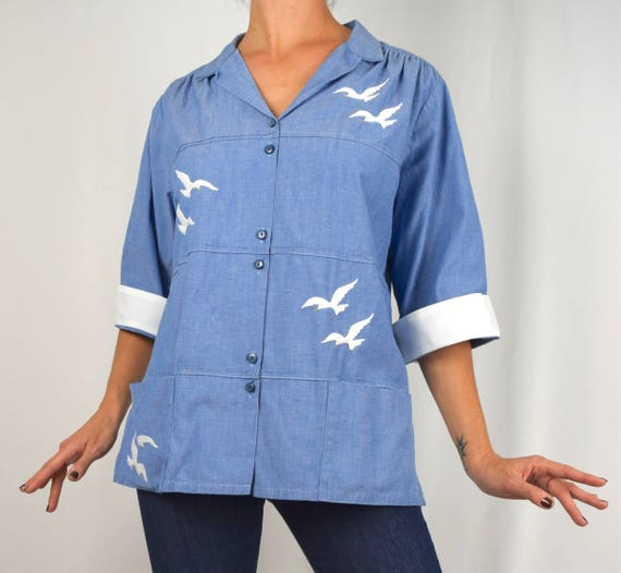 Vintage 60s Blue Chambray Button Down Blouse with Embroidered Seagulls (size large)