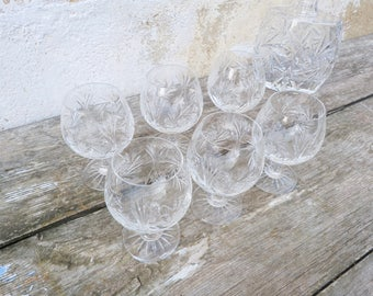 Vintage French  hand etched crystal de Lorraine cut out Cognac decanter & 6 glasses