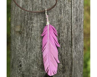 Pale Pink Feather Pendant - Leather Bird Feather Jewelry - 3 inch Necklace