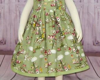 Owls Dress, Green Girl Dress, Summer Straps Dress, Monkey Dress, Girl Sundress, Infant Summer Dress, Turtle Dress, Green and Hot Pink Dress