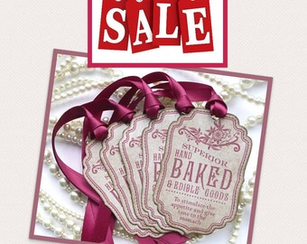 Baked Goods Tags - Raspberry Vintage Style - Wedding Favor Tags, Cookies, Cupcakes, Buffet Labels CODE B8