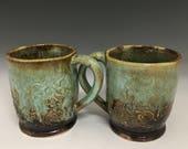 Ceramic Mug Set of 2 Small Turquoise Caramel Brown Handmade MS3