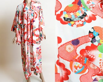 Vintage Floral Print Kimono - Light Cotton Metallic Gold Red Colorful Rainbow Yukata Japanese Kimono Robe Jacket