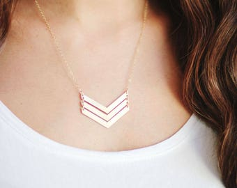 Triple V Arrow Necklace | Brass Necklace | 14k Gold Filled Necklace | Sterling Silver Necklace | Chevron Necklace | Long Necklace